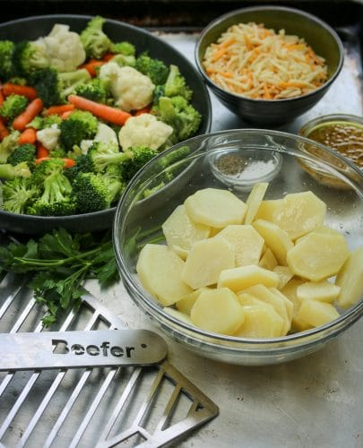 Cheesy Italian Veggies with Roasted Potatoes