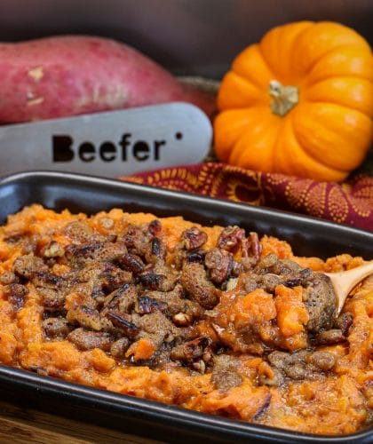 Beefer Sweet Potato Mash with Brown Sugar Pecans