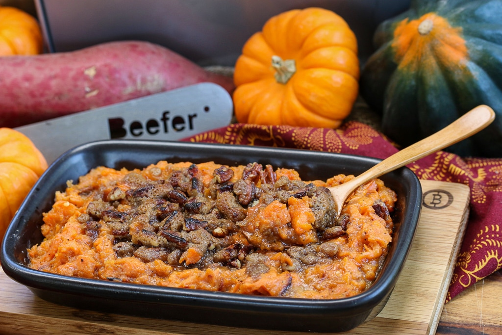 Beefer Sweet Potato Mash with Brown Sugar Pecans
