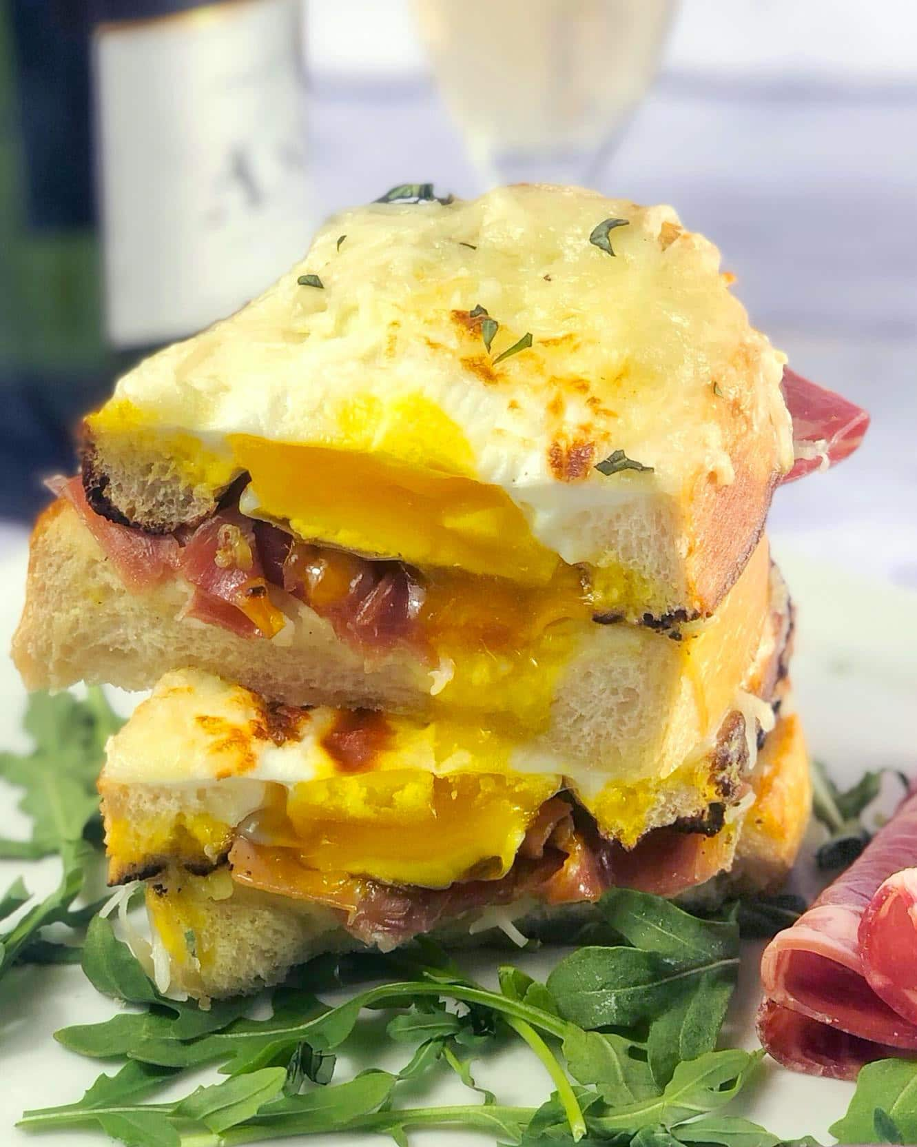 Cheesy Alfredo & Prosciutto Brunch Sandwiches