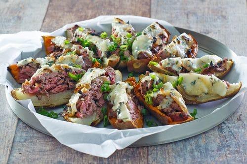 Beefer: Steak & Gorgonzola Potato Skins with Caramelized Onions