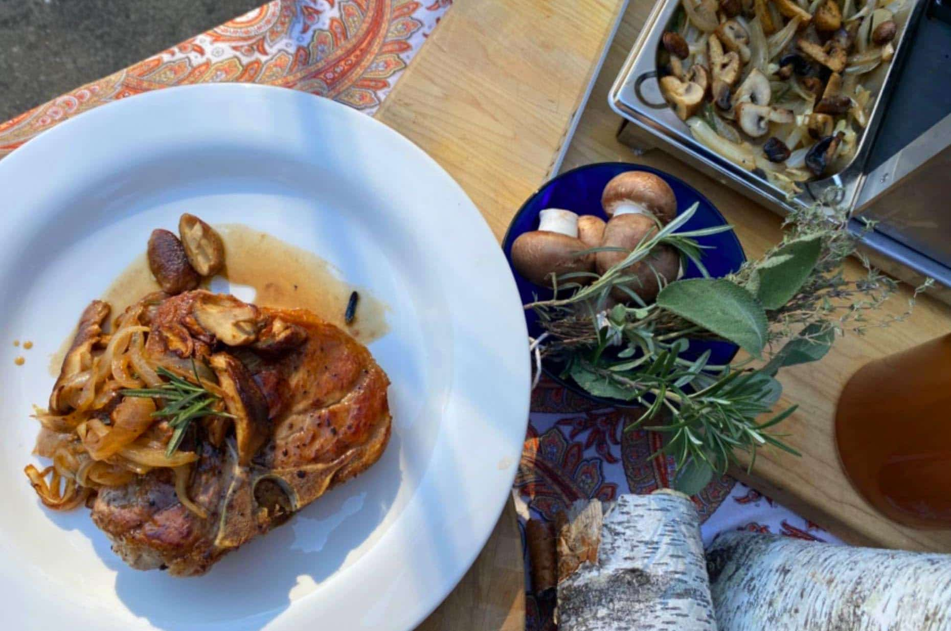 Cider Brined Bone in Pork Chop with Savory Herbed Mushrooms and Spanish Onions