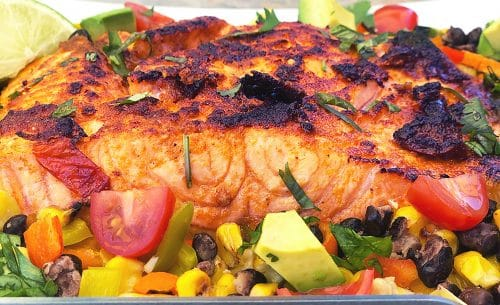 Made with a Beefer: Chipotle Lime Roasted Salmon with Charred Corn and Black Bean Relish