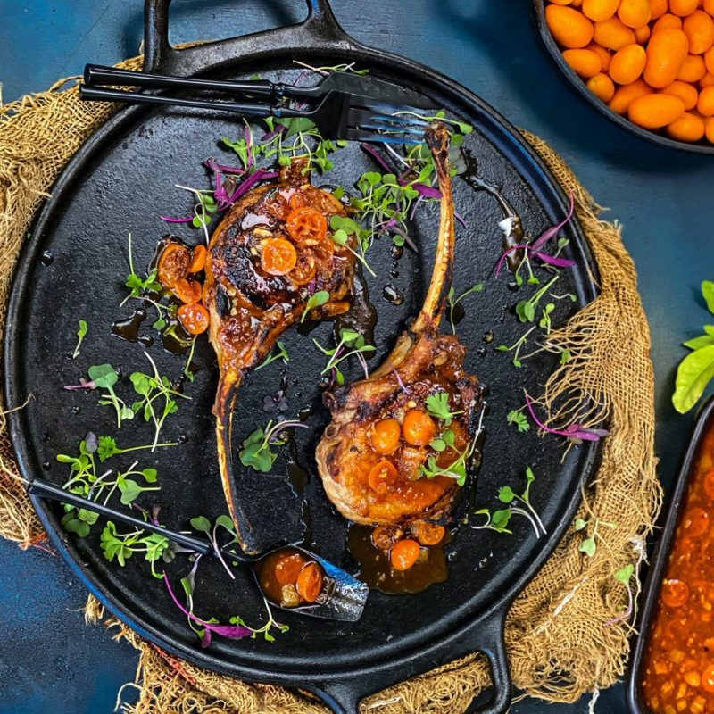 Tomahawk Pork Chops with Smoky Kumquat Sauce from the Beefer