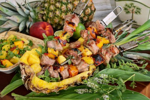 Pork, Peach, and Pineapple Kebabs with Zesty Mint Agave from the Beefer