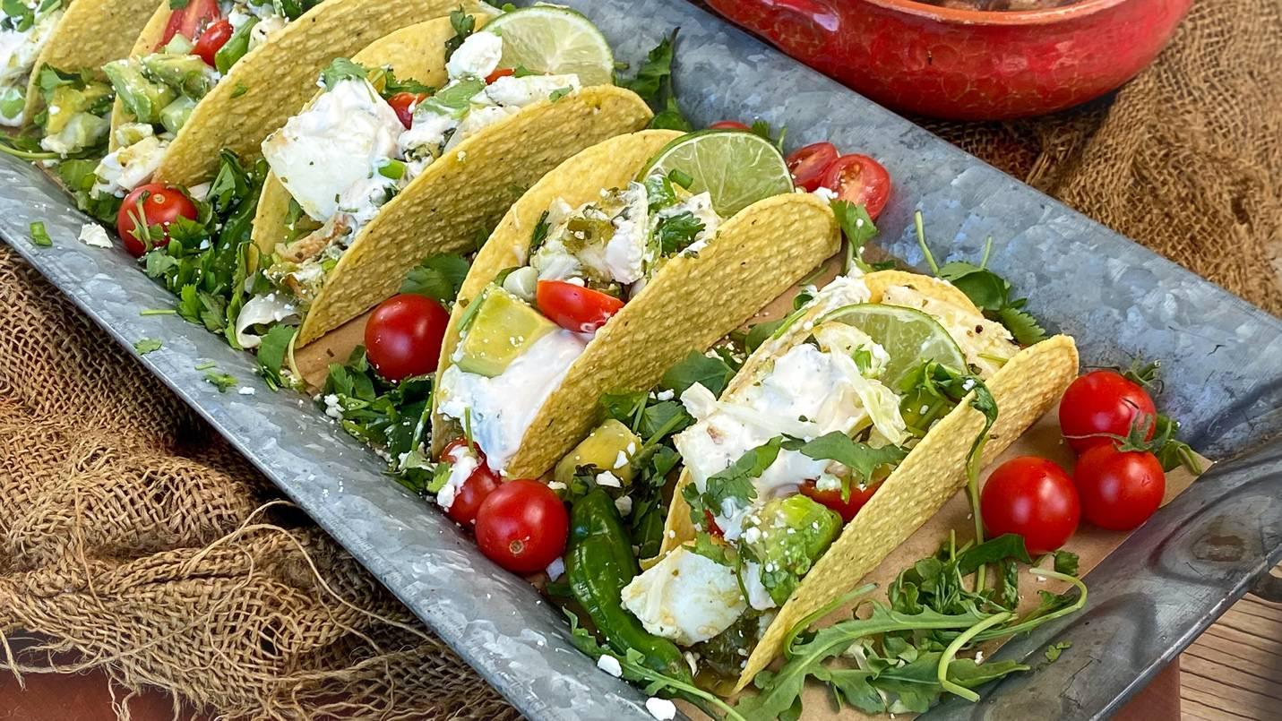 Salsa Verde Halibut Tacos made with a Beefer