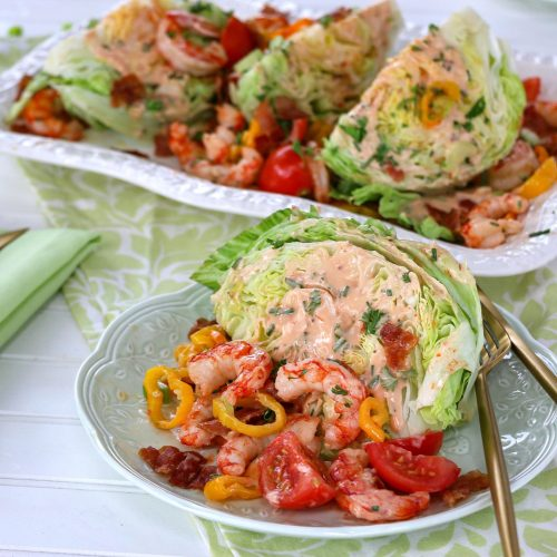 Argentinean Red Shrimp, Bacon, Tomato and Peppers Wedge Salad from the Beefer